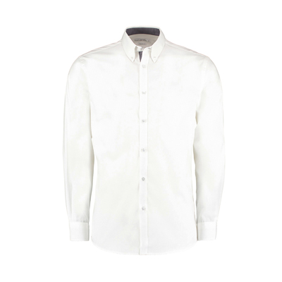 KUSTOM KIT Contrast premium Oxford shirt (button-down collar) long sleeve