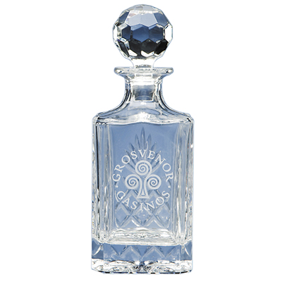 The elegant square spirit decanter is beautifully crafted out of 24% lead crystal and has a traditional diamond cut pattern hand