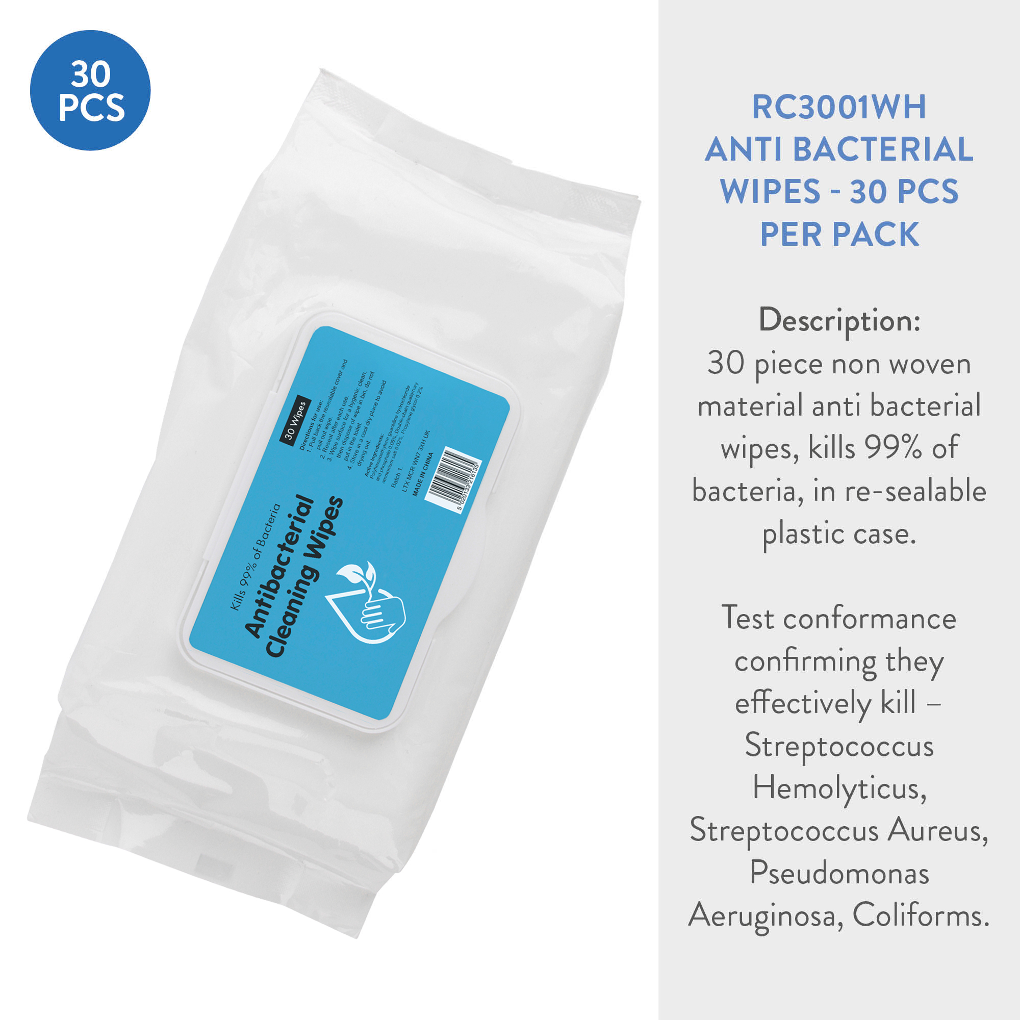 ANTI BACTERIAL HAND WIPES (30)
